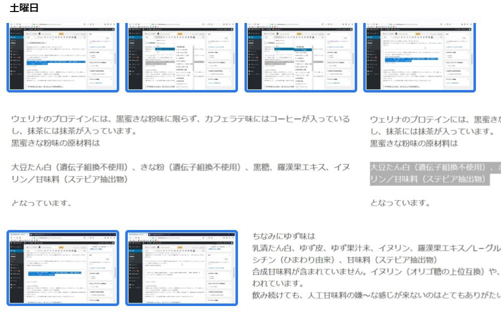 いくつかの画像が並べてあり、デスクトップ全体のキャプチャ6枚に青い四角でしるしをつけている